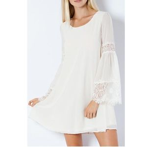 Entro Ivory Lace Bell Sleeve Swing Dress S